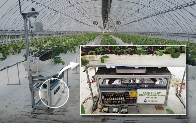 전남 장성의 한 딸기농장에 설치된 온실재배용 스마트농사플랫폼. - ETRI 제공
